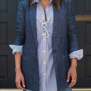 NWT Banana Republic Denim Linen Blazer New Size 4